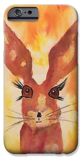 March Hare iPhone Cases - Golden Hare iPhone Case by Karen  Connolly