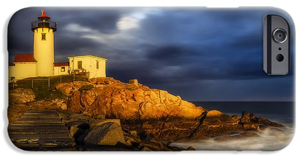 New England Lighthouse iPhone Cases - Golden Hour iPhone Case by Mark Papke