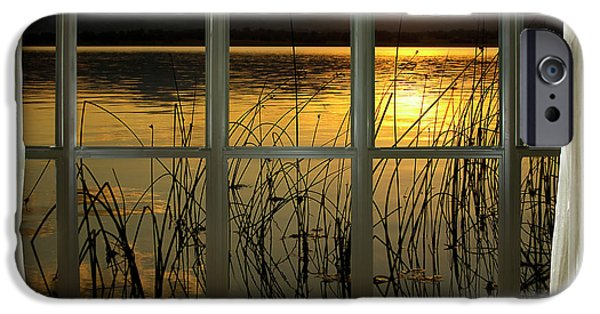 Abtracts iPhone Cases - Golden Lake bay Picture Window View iPhone Case by James BO  Insogna