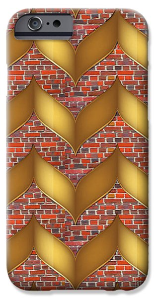Christmas Greeting iPhone Cases - Golden laminates on brick wall abstract modern design gallery art NavinJoshi FineArtAmerica Pixels iPhone Case by Navin Joshi