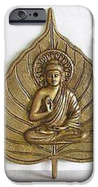Portraits Jewelry iPhone Cases - Golden Lord Buddha iPhone Case by Harsh Maske