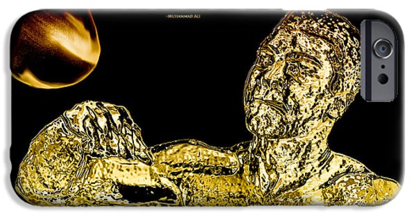 Boxer Digital Art iPhone Cases - Golden Muhammad Ali  iPhone Case by Brian Reaves