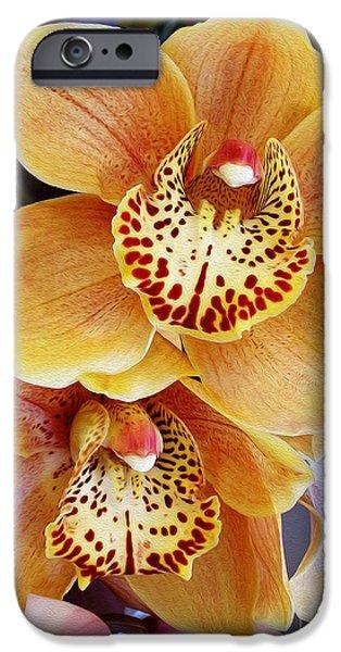 Floral Digital Art Digital Art iPhone Cases - Golden Orchid iPhone Case by Kaye Menner