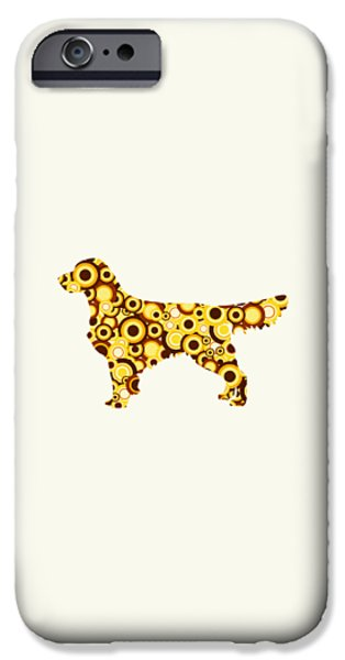 Silhouettes iPhone Cases - Golden Retriever - Animal Art iPhone Case by Anastasiya Malakhova