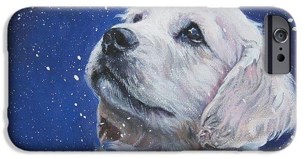 Dogs iPhone Cases - Golden Retriever Pup in Snow iPhone Case by L A Shepard