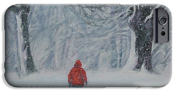 Dogs iPhone Cases - Golden Retriever winter walk iPhone Case by Lee Ann Shepard