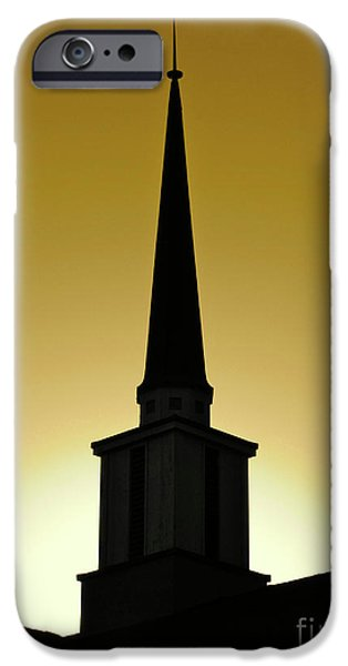 Cmlbrown iPhone Cases - Golden Sky Steeple iPhone Case by CML Brown