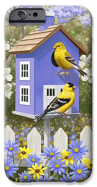 Birdhouse iPhone Cases - Goldfinch Garden Home iPhone Case by Crista Forest