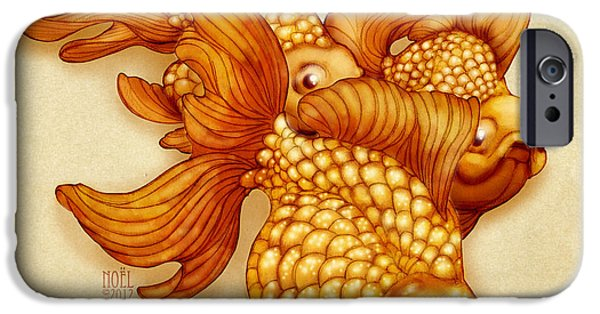 Goldfish Mixed Media iPhone Cases - Goldfish III iPhone Case by Catherine Noel