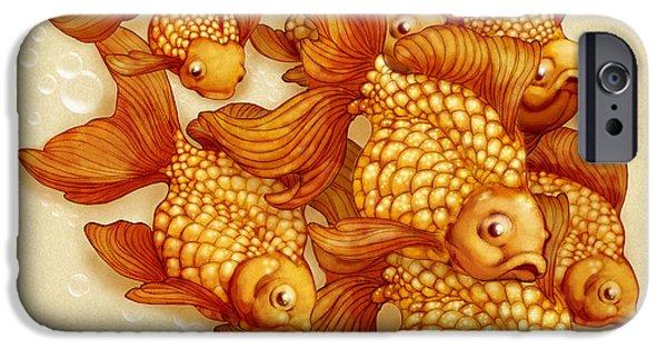 Goldfish Mixed Media iPhone Cases - Goldfish on the Go iPhone Case by Catherine Noel