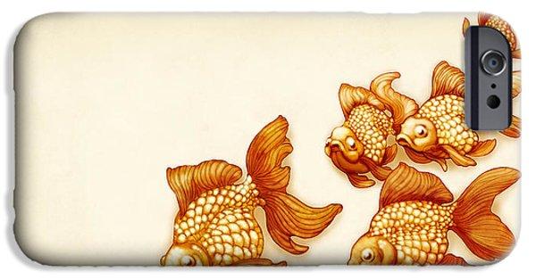 Goldfish Mixed Media iPhone Cases - Goldfish School iPhone Case by Catherine Noel