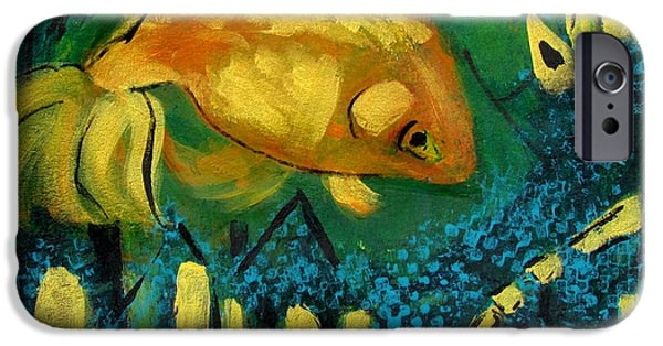 Thinking iPhone Cases - Goldfish Wants to Get Out of Here iPhone Case by Betty Pieper