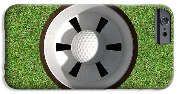 Golfing iPhone Cases - Golf Hole With Ball Inside iPhone Case by Allan Swart