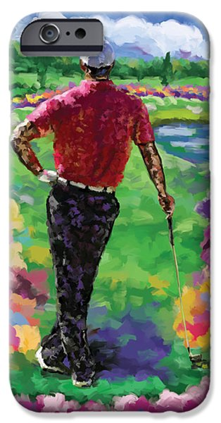 Tom Hagen iPhone Cases - Golfer 1 iPhone Case by Tim Gilliland