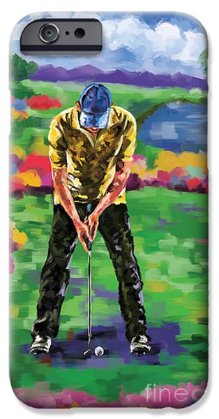 Tom Hagen iPhone Cases - Golfer 4 iPhone Case by Tim Gilliland