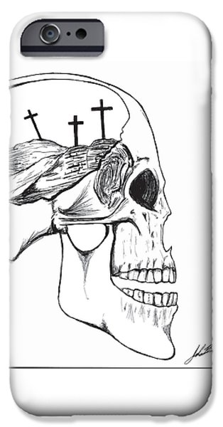 Jesus Drawings iPhone Cases - Golgotha  iPhone Case by John Bainter
