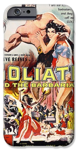 1950s Movies Mixed Media iPhone Cases - Goliath And The Barbarians 1959 iPhone Case by Mountain Dreams