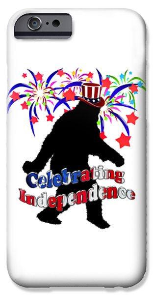 4th July Digital iPhone Cases - Gone Squatchin - Celebrating Independence iPhone Case by Gravityx9   Designs