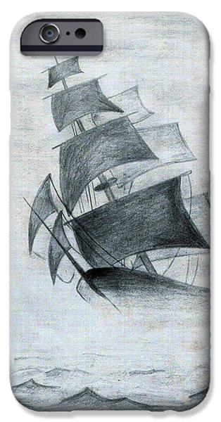 Pirate Ship Drawings iPhone Cases - Gone With The Wind iPhone Case by Farah Faizal