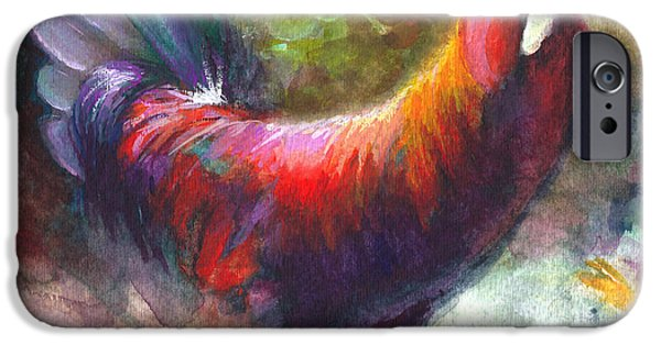 Luminescent iPhone Cases - Gonzalez the Rooster iPhone Case by Talya Johnson