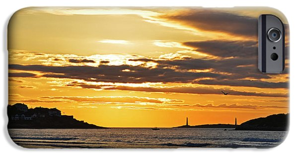 Lighthouse iPhone Cases - Good Harbor Lighthouses at Sunrise iPhone Case by Toby McGuire