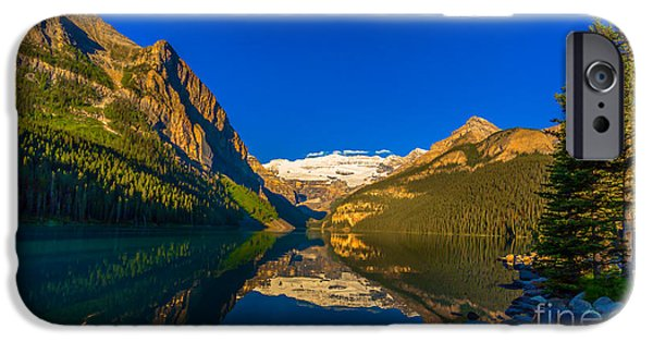 Canoe iPhone Cases - Good Morning Lake Louise iPhone Case by John Roberts