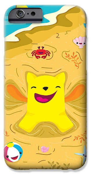 Child Digital iPhone Cases - Good vibes at the beach iPhone Case by Seedys