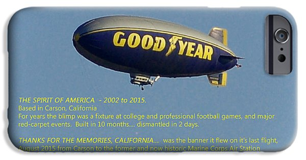 Dismantled iPhone Cases - Good Year Blimp The Spirit of America 2002 2015  iPhone Case by Linda Brody