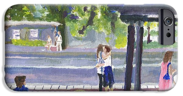 Virtual Paintings iPhone Cases - Goodbye Kiss in Gothenburg Sweden iPhone Case by Paul Thompson