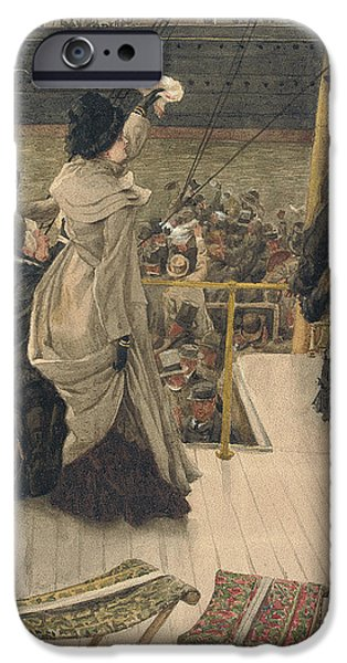 Board Drawings iPhone Cases - Goodbye on the Mersey iPhone Case by James Jacques Joseph Tissot