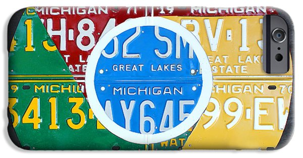 Google Mixed Media iPhone Cases - Google Chrome Logo Recycled License Plate Art on Cement Wall iPhone Case by Design Turnpike