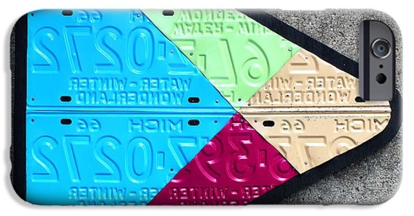 Google Mixed Media iPhone Cases - Google Play Logo Recycled License Plate Art on Cement Wall iPhone Case by Design Turnpike