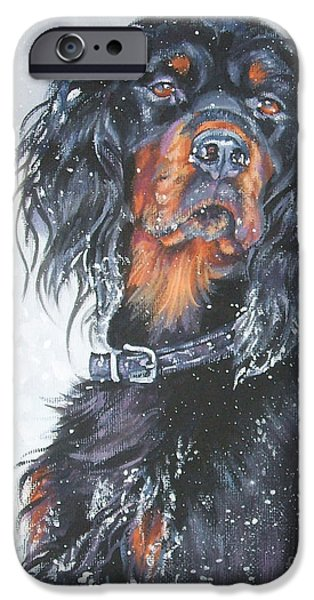 Gordon Setter Puppy iPhone Cases - Gordon Setter in snow iPhone Case by Lee Ann Shepard