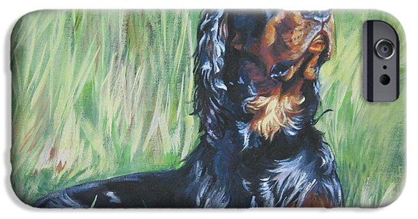 Gordon Setter Puppy iPhone Cases - Gordon Setter in the Grass iPhone Case by L A Shepard