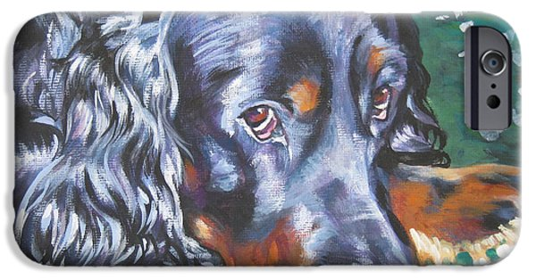 Gordon Setter Puppy iPhone Cases - Gordon Setter in wildflowers iPhone Case by Lee Ann Shepard