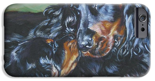 Gordon Setter Puppy iPhone Cases - Gordon Setter Mom and pup iPhone Case by Lee Ann Shepard