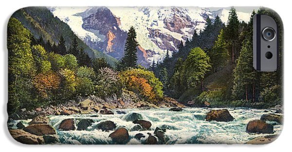 Switzerland Drawings iPhone Cases - Gorge of the Lutschine River Interlaken iPhone Case by Celestial Images