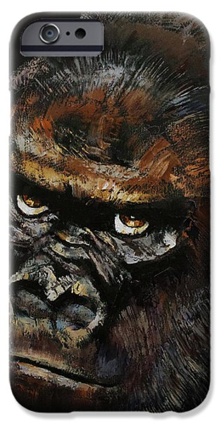 Manga iPhone Cases - Gorilla iPhone Case by Michael Creese