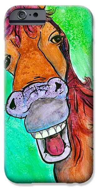 Smiling Mixed Media iPhone Cases - Gossip iPhone Case by Debi Starr