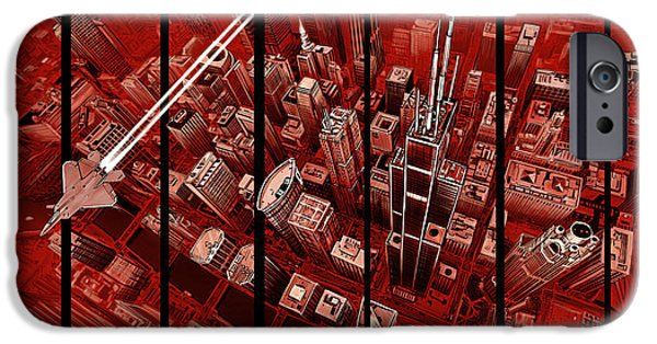 Willis Tower Drawings iPhone Cases - Gotham iPhone Case by Robin DaSilva