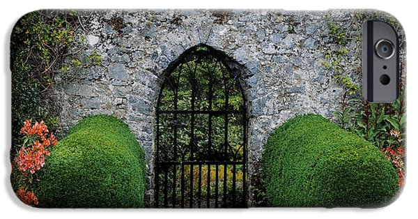 Garden Statuary iPhone Cases - Gothic Entrance Gate, Walled Garden iPhone Case by The Irish Image Collection