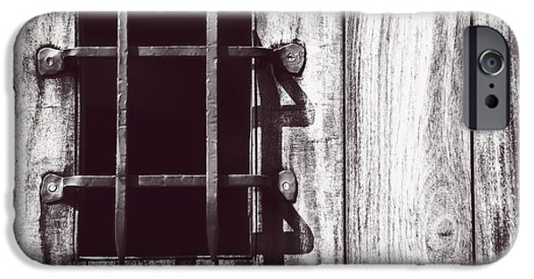 Technology iPhone Cases - Gothic Gate - Monochrome iPhone Case by F Leblanc