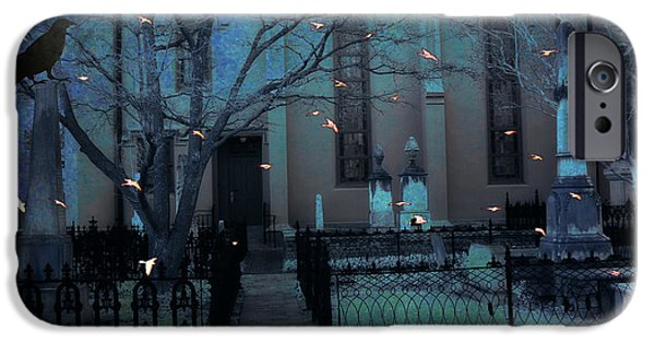 Gothic iPhone Cases - Gothic Surreal Ravens Crows Cemetery Landscape iPhone Case by Kathy Fornal
