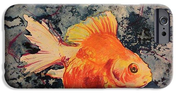 Goldfish Mixed Media iPhone Cases - Goya iPhone Case by Alycia Overmyer