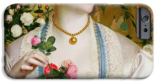Gold Roses iPhone Cases - Grace Rose iPhone Case by Anthony Frederick Augustus Sandys