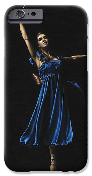Graceful iPhone Cases - Graceful Dancer in Blue iPhone Case by Richard Young