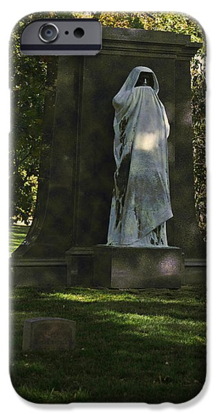 Headstones iPhone Cases - Graceland Chicago - The place where the spirits roam iPhone Case by Christine Till
