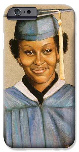 Young Paintings iPhone Cases - Graduation iPhone Case by Charles Munn