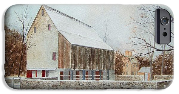 Red Barn In Winter iPhone Cases - Graeme Park in Winter iPhone Case by Denise Harty