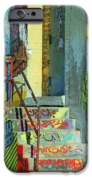Street Mixed Media iPhone Cases - Graffiti Steps Wall Art iPhone Case by ArtyZen Studios - ArtyZen Home